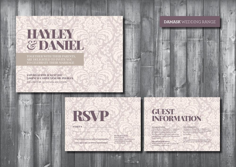 Wedding Invitation Suite - Digital Printable File - Damask Wedding Range - DIY Wedding