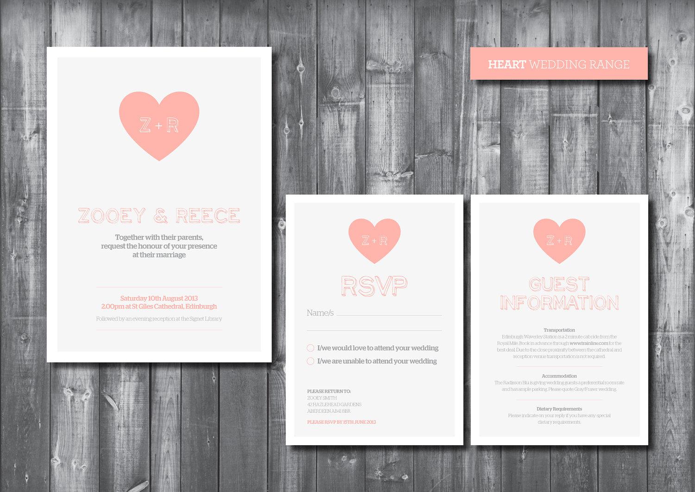 Wedding invitation suite digital printable file heart for Digital wedding invitations